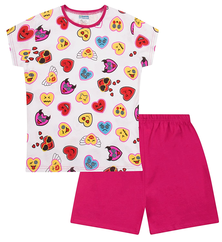 Teenage Girl's Short Pyjamas Emoji Style Pjs 9 to 16 Years White