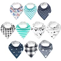 Baby Bandana Drool Bibs, Unisex 10-Pack Gift Set for Drooling and Teething, Organic Cotton, Soft and Absorbent, Hypoallergenic - for Boys and Girls by KiddyStar (10 Pack)
