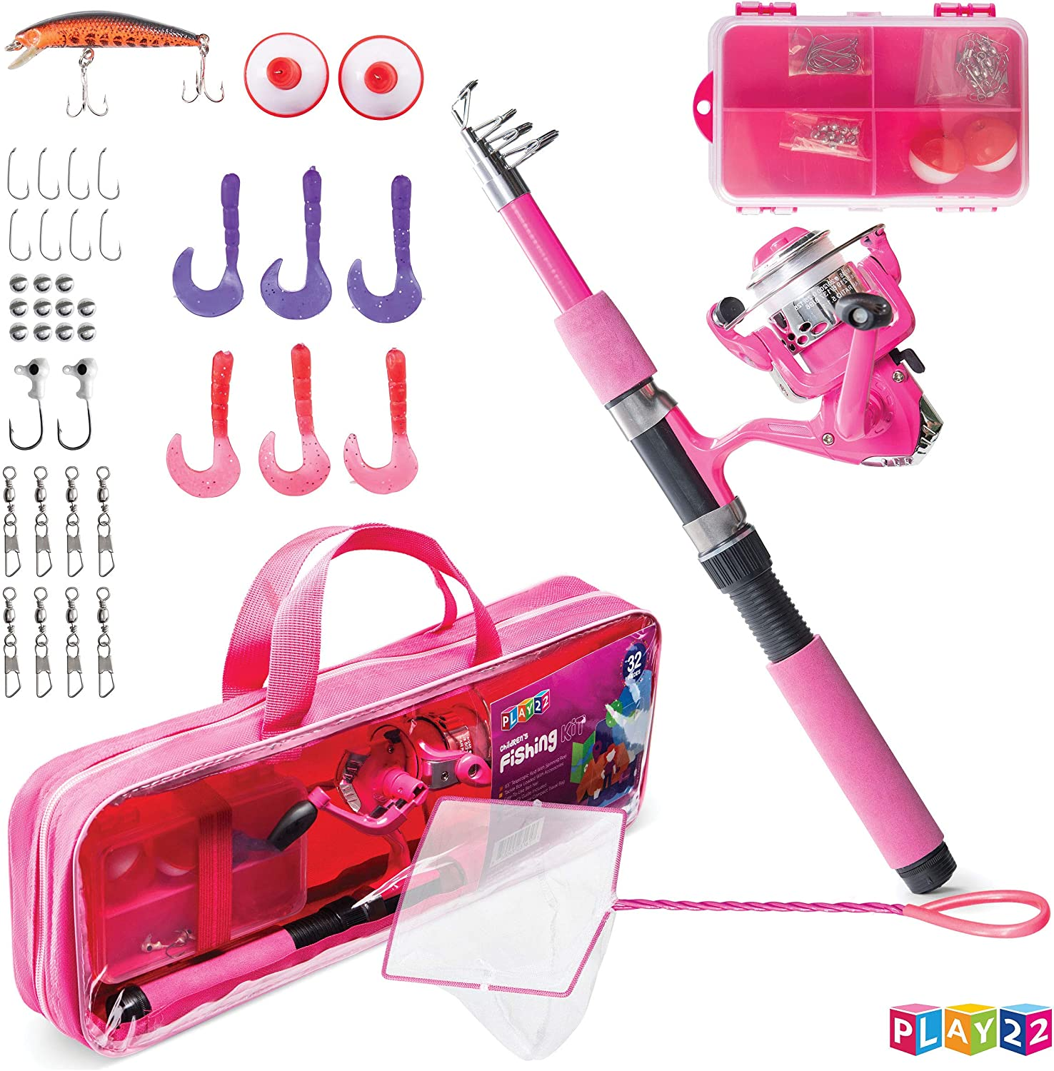 Amazon Com Play22 Kids Fishing Pole Pink 40 Set Kids Fishing Rod And Reel Combos Fishing Poles For Youth Kids Includes Fishing Tackle Fishing Gear Fishing Lures Net Carry On