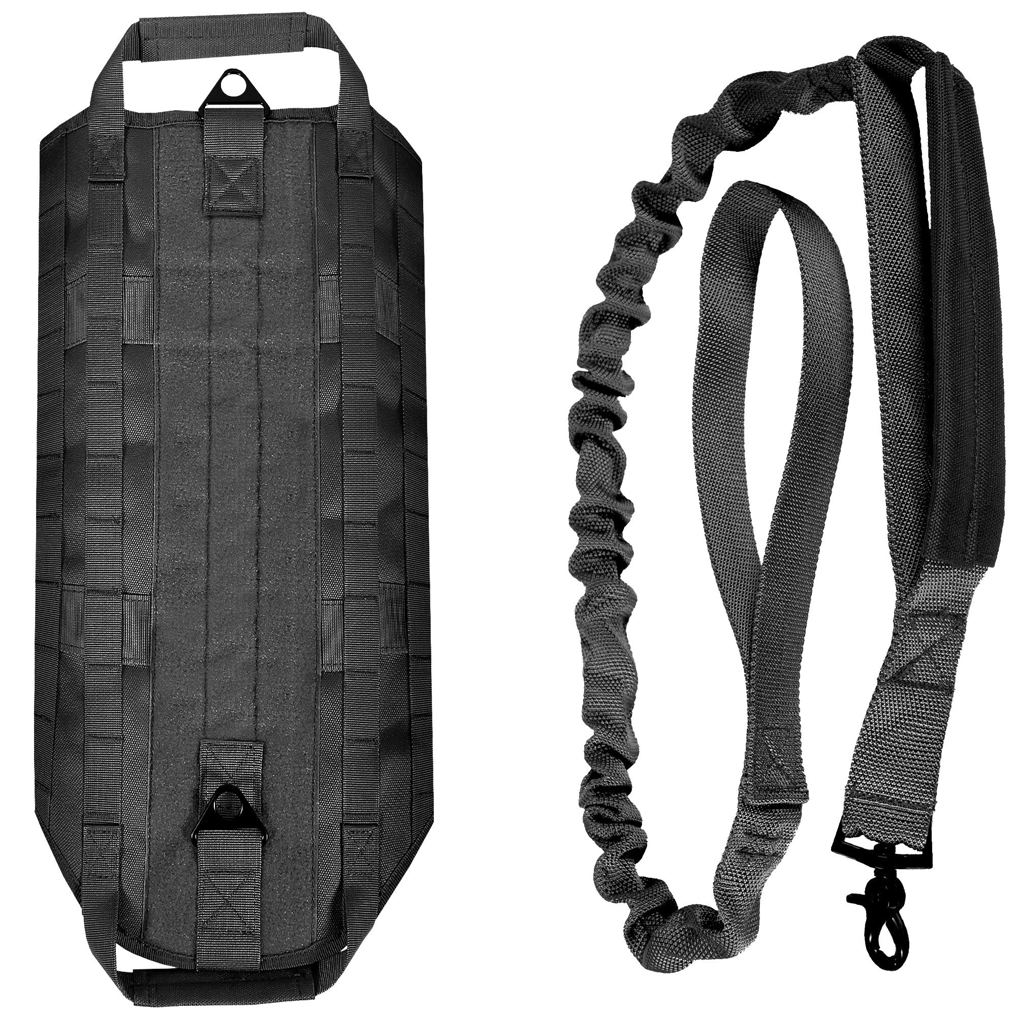 LIVABIT [ Black Canine Service Dog Tactical Molle Vest Harness + Matching Heavy Duty Bungee Leash Strap Medium