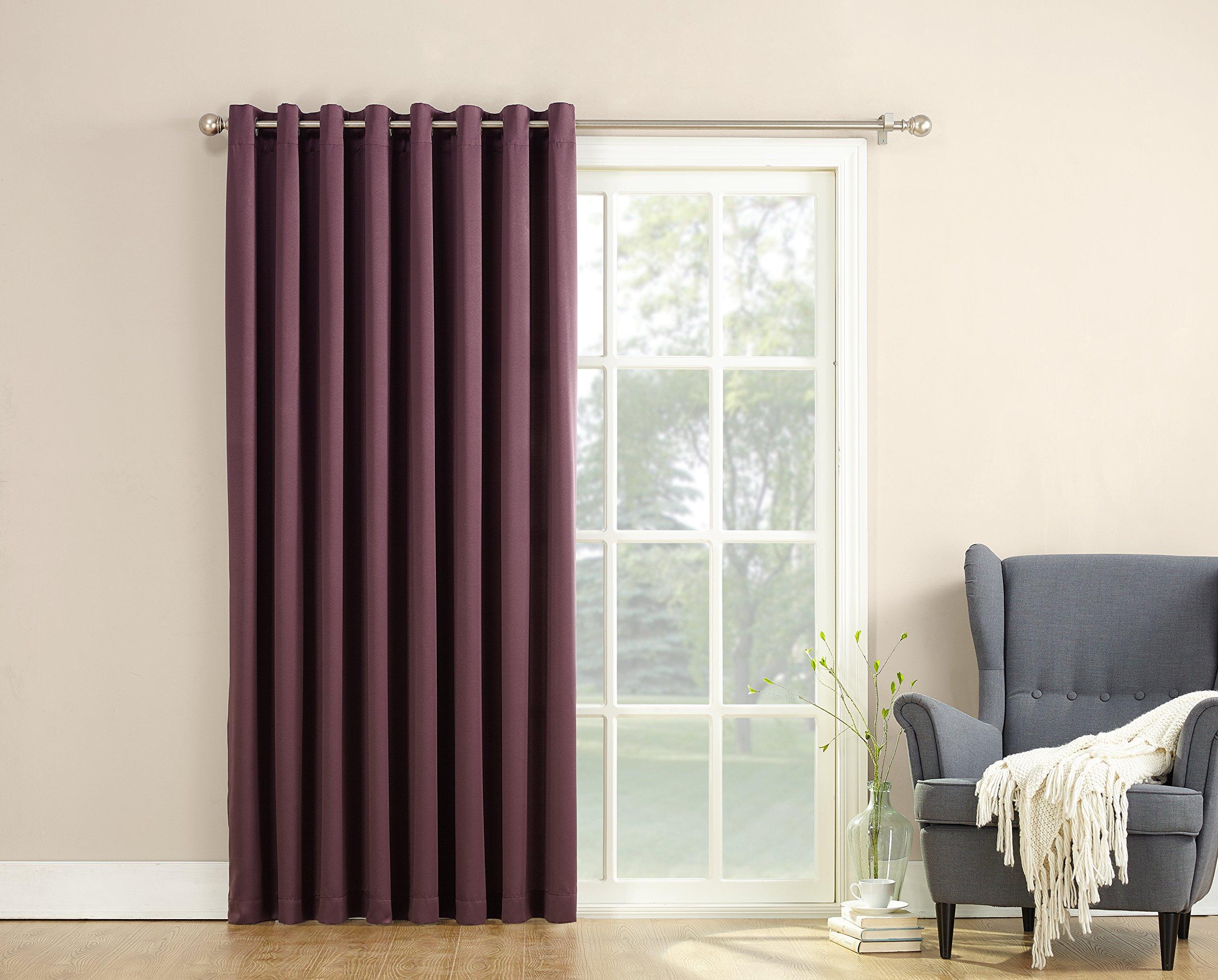 """Sun Zero Barrow Energy Efficient Patio Door Curtain Panel 100"""" x"""