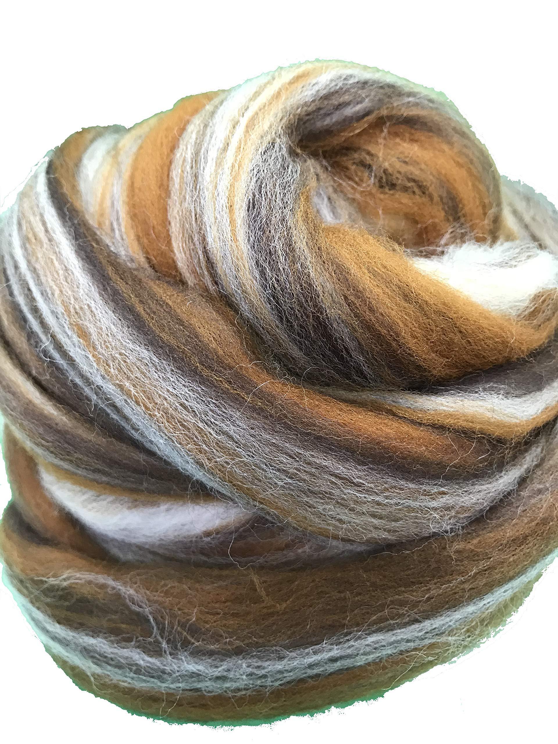 Shep's Cafe Latte Merino Wool Top Roving Fiber Spinning, Felting Crafts USA (2lb) by Shep's Wool