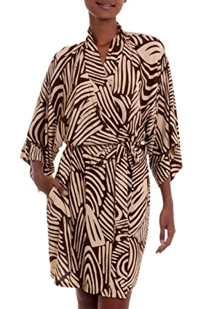 b70fe963d9b Image Unavailable. Image not available for. Color  NOVICA Beige and Brown  Rayon Robe ...