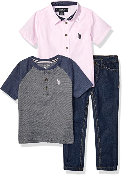 and Jogger Pant Set U.S Polo Assn Boys Short Sleeve Henley T-Shirt