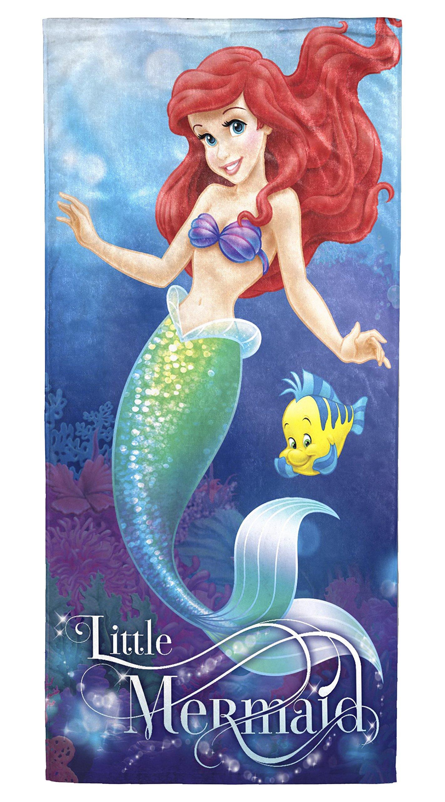 Disney Little Mermaid Ariel Coral Reef 2 Pack of Cotton Bath, Pool, Beach Towels 28'' x 58'' each (Pack of 2 Beach Towels)