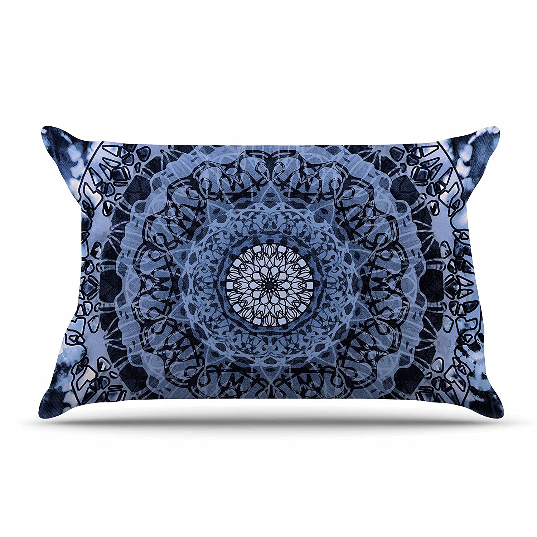 30 x 20 Pillow Sham Kess InHouse Nina May Tie-Dye Mandala Jain Blue White Watercolor