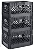 "Muscle Rack PMK24QTB-3 24 quart 3 Pack black Heavy Duty Rectangular Stackable Dairy Milk Crates , 11"" Height, 19"" width"