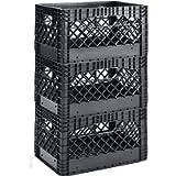 Muscle Rack PMK24QTB-3 24 Quart 3 Pack Black Heavy Duty Rectangular Stackable Dairy Milk Crates, 11' Height, 19' Width