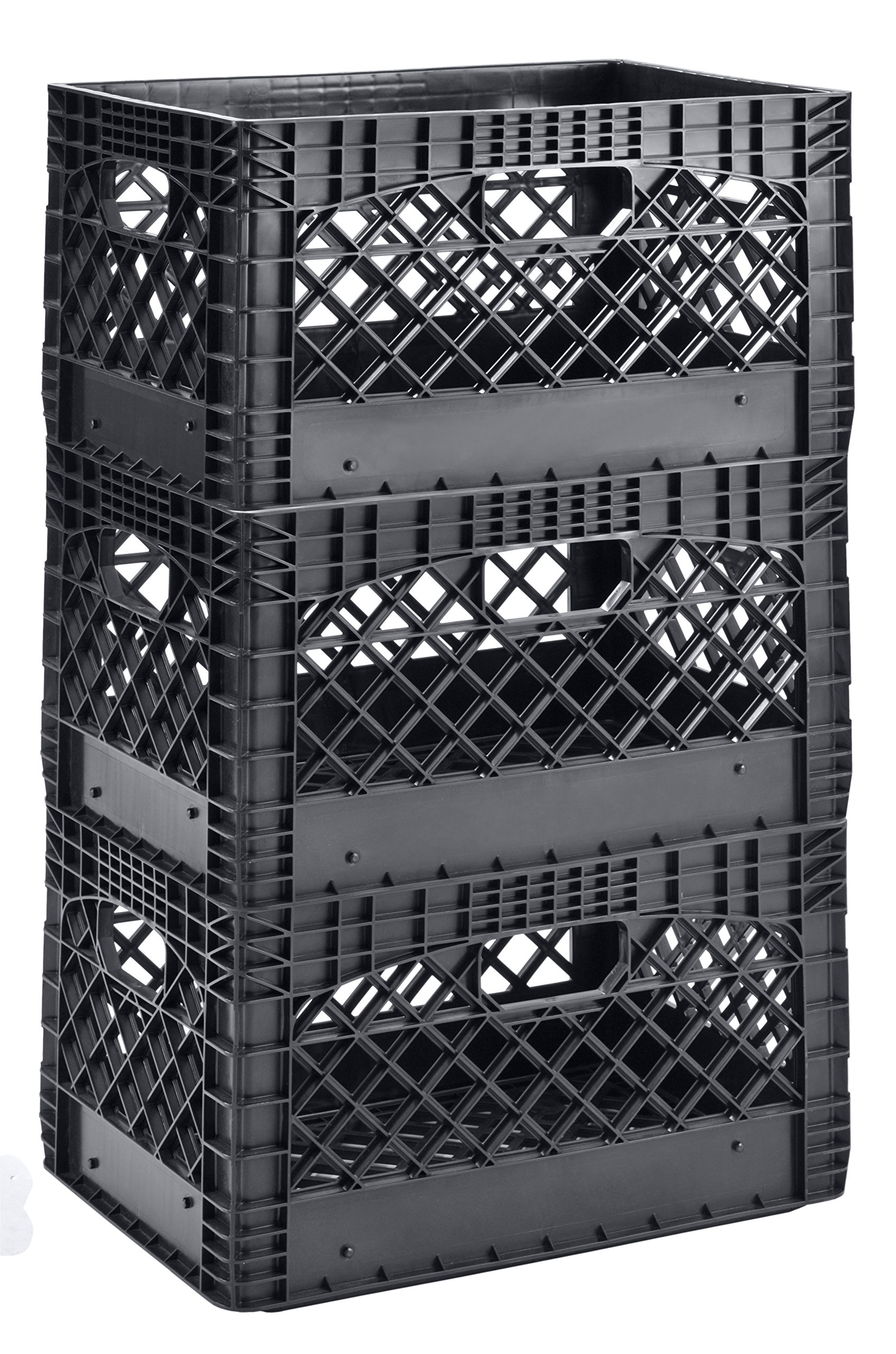 Muscle Rack PMK24QTB-3 24 Quart 3 Pack Black Heavy Duty Rectangular Stackable Dairy Milk Crates, 11'' Height, 19'' Width by Muscle Rack