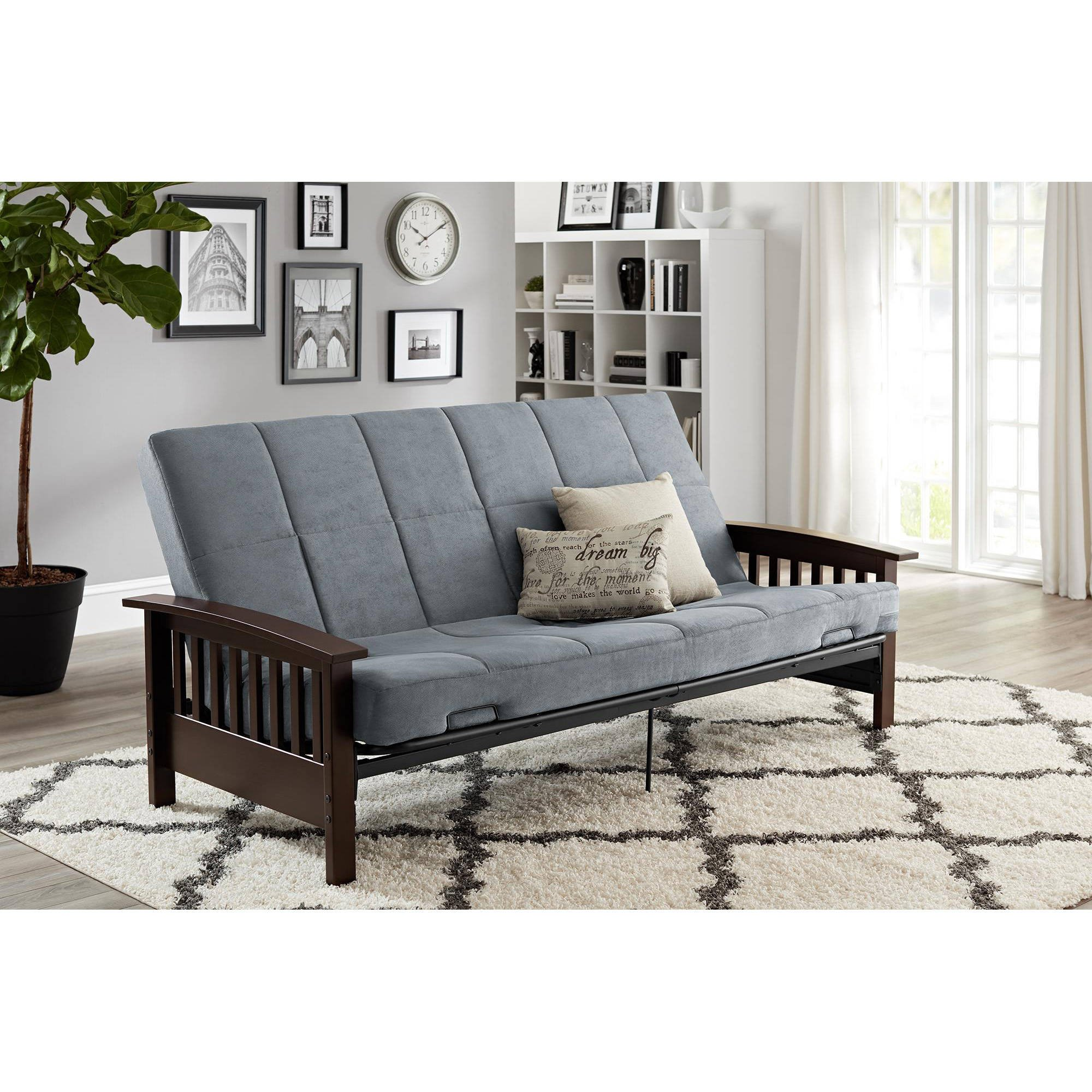 Better Homes & Gardens' Solid Mission Wood Arm Futon in Gray by Better Homes & Gardens'