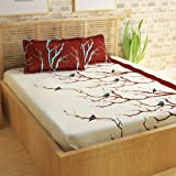Story@Home 186 TC Cotton Bedsheet for Double Bed with 2 Pillow Cover, Brown