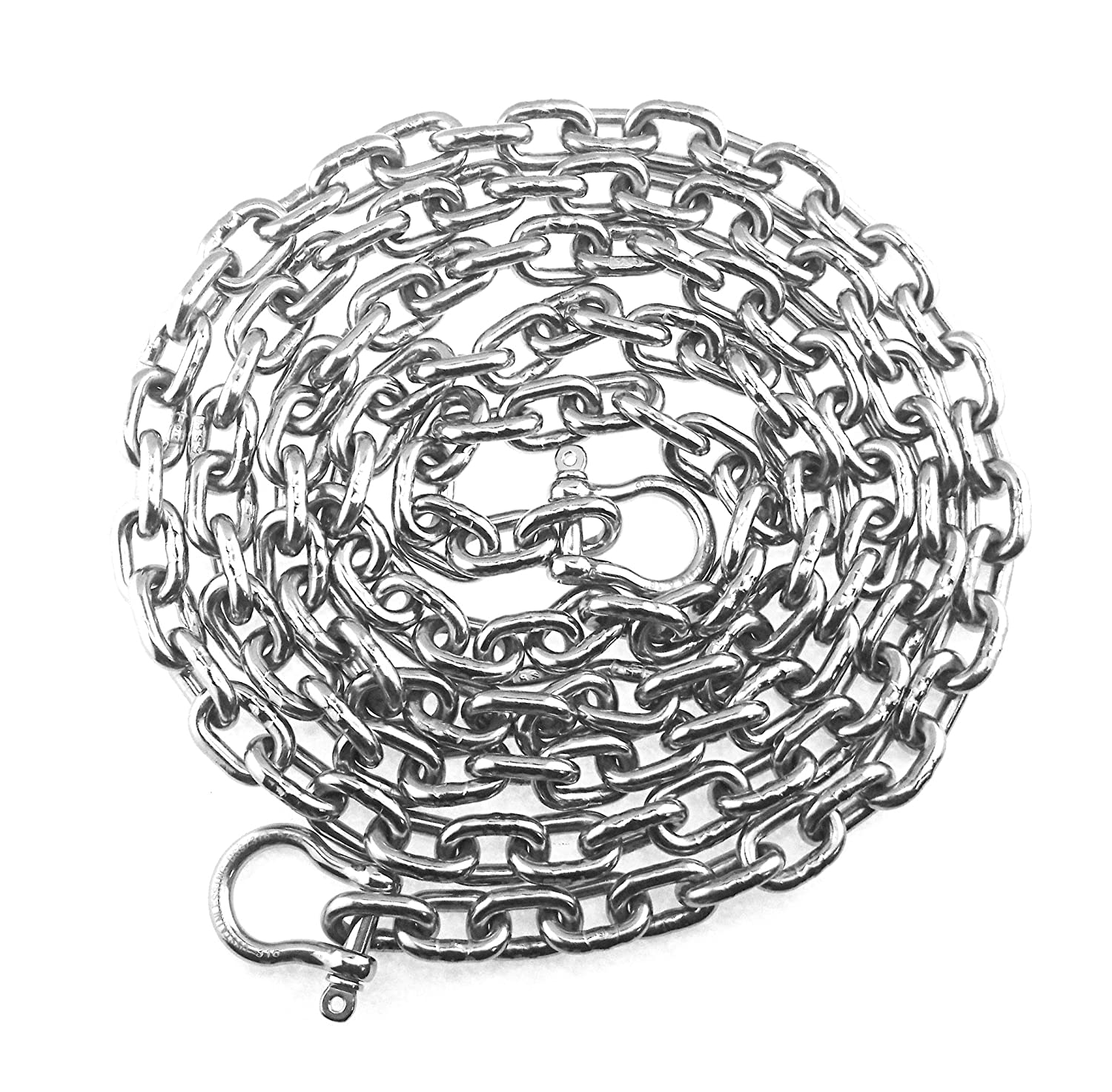 """DIN766 by 30/' with shackles 1//4/"""" Stainless Steel Windlass Anchor Chain 316 7mm"""