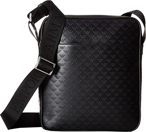 8720563545 Emporio Armani Men s Eagle Embossed Messenger Bag Black One Size   Amazon.ca  Shoes   Handbags