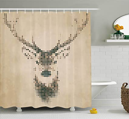 Ambesonne Deer Decor Shower Curtain Set Retro Style Portrait With Digital Dots And Geometric