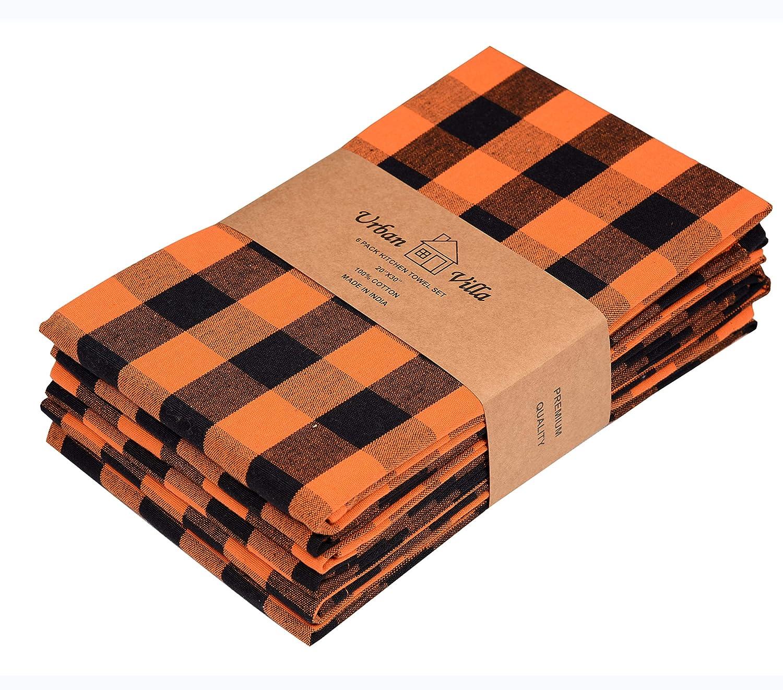 Urban Villa Kitchen Towels, Halloween Special Premium Quality, 100% Cotton Dish Towels,Mitered Corners,Ultra Soft (Size: 20X30 Inch),Orange/Black,Highly Absorbent Bar Towels & Tea Towels - (Set of 6)