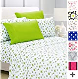 American Home Collection Deluxe 4 Piece Printed Sheet Set of Brushed Fabric, Deep Pocket Wrinkle Resistant - Hypoallergenic (Twin, Lime Green Floral)