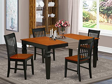 Amazon Com 5pc Rectangular 42 60 Inch Dining Room Table With 18 In Leaf And Four Wood Seat Dining Chairs Furniture Decor