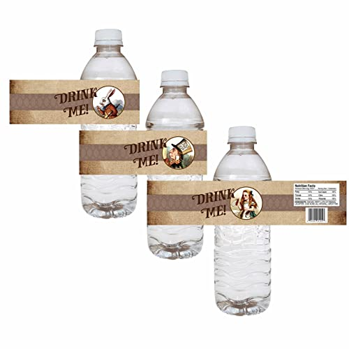Alice In Wonderland Party Water Bottle Labels Wedding Bridal Baby Shower Drink Sticker Set Of 12