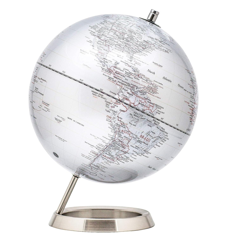 Exerz 30CM Mappamondo/World Globe/Globo in Inglese - Decorazione Desktop/Educazione / Geografica/Moderna - Con Base in Metallo - Nero Metallizzato Exerz Limited