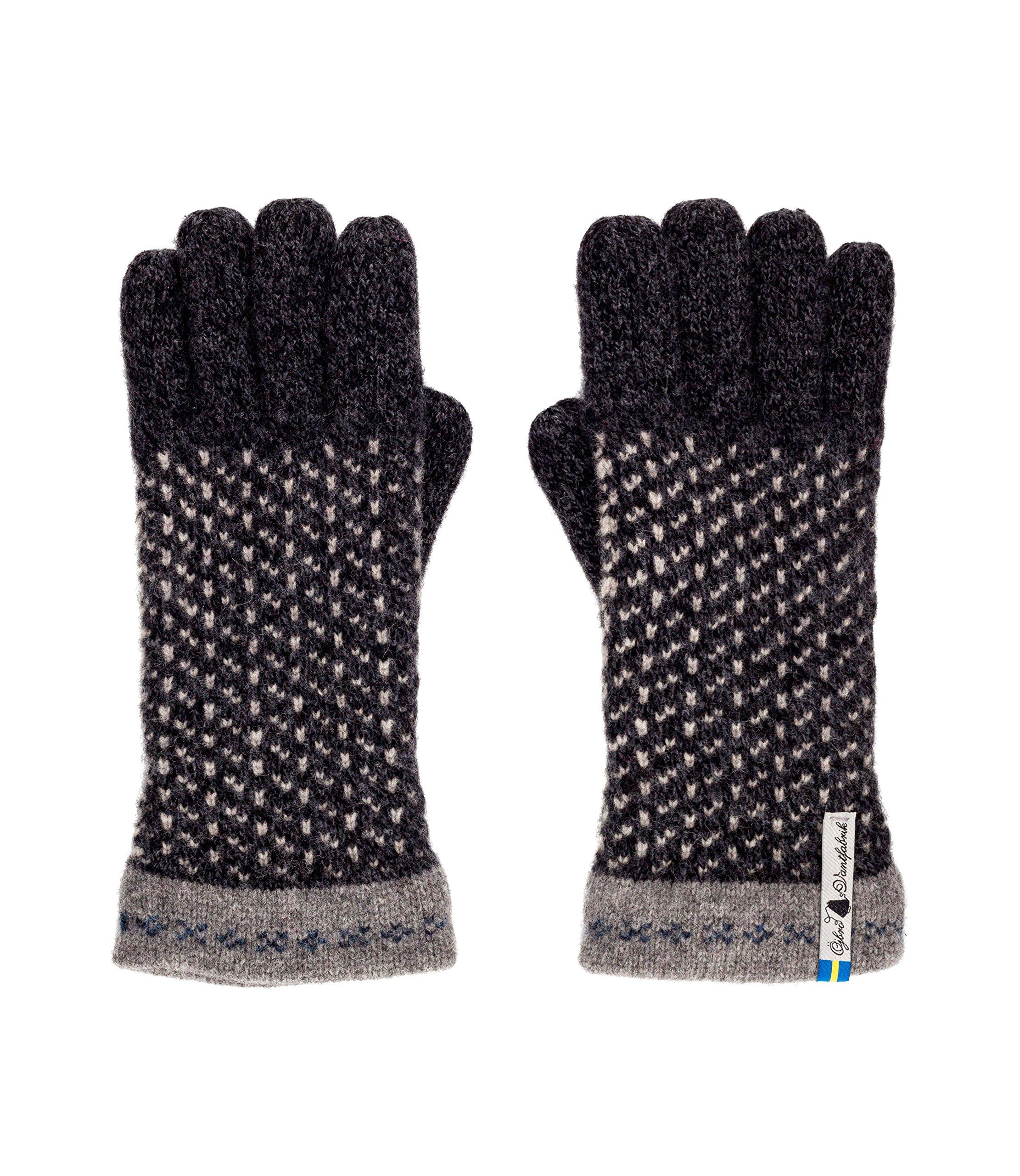Öjbro Swedish made 100% Merino Wool Soft Thick & Extremely Warm Gloves (Large, Skaftö Sot)