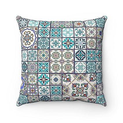 Moroccanity Funda de cojín de 43 x 43 cm, diseño geométrico de azulejos marroquíes, ideal para sofá, cama, regalo de español, color turquesa