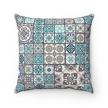 Kissenhülle mit geometrischem, spanisch-marokkanischem Motiv in  Fliesenoptik; für Sofa, Bett oder als Geschenk; spanisch-maurischer  Kissenbezug, ...