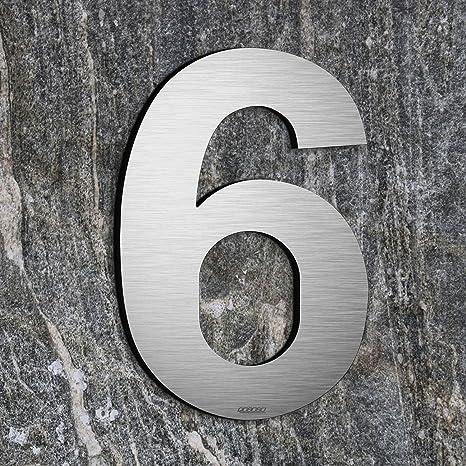qobobo® Número Casa 6 Seis o 9 Nueve Signo Vivienda Calle de 304 Acero Inoxidable Cepillado , 200mm