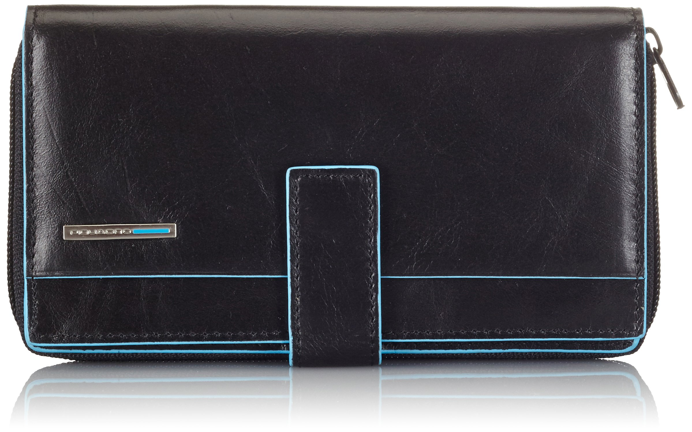 Piquadro Lady's Wallet In Leather, Black/Black, One Size