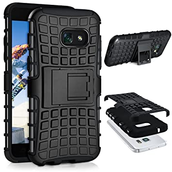 moex Samsung Galaxy A5 (2017) Hülle Silikon Hard Case Schwarz [OneFlow Outdoor Back Cover] Extrem Stoßfest Schutzhülle Grip Handyhülle für Samsung
