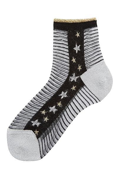 next Mujer Calcetines Tobilleros De Malla De Rayas Y Estrellas White & Plum Stripe Talla única