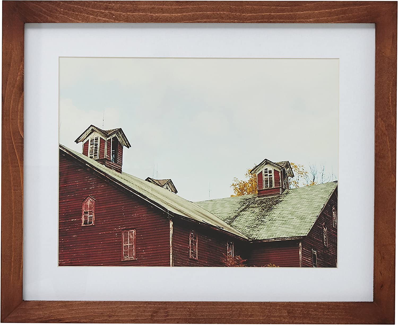 Amazon Brand – Stone & Beam Modern Rustic Farmhouse Photo Print Framed Wall Art Decor - 13 x 15 Inch Frame, Rustic Brown