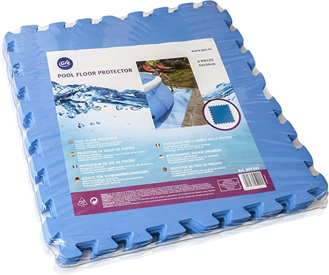 Gre MPF509 - Protector de Suelo para Piscina, 9 piezas, Color Azul, 4, 5 mm de Grosor: Amazon.es: Jardín