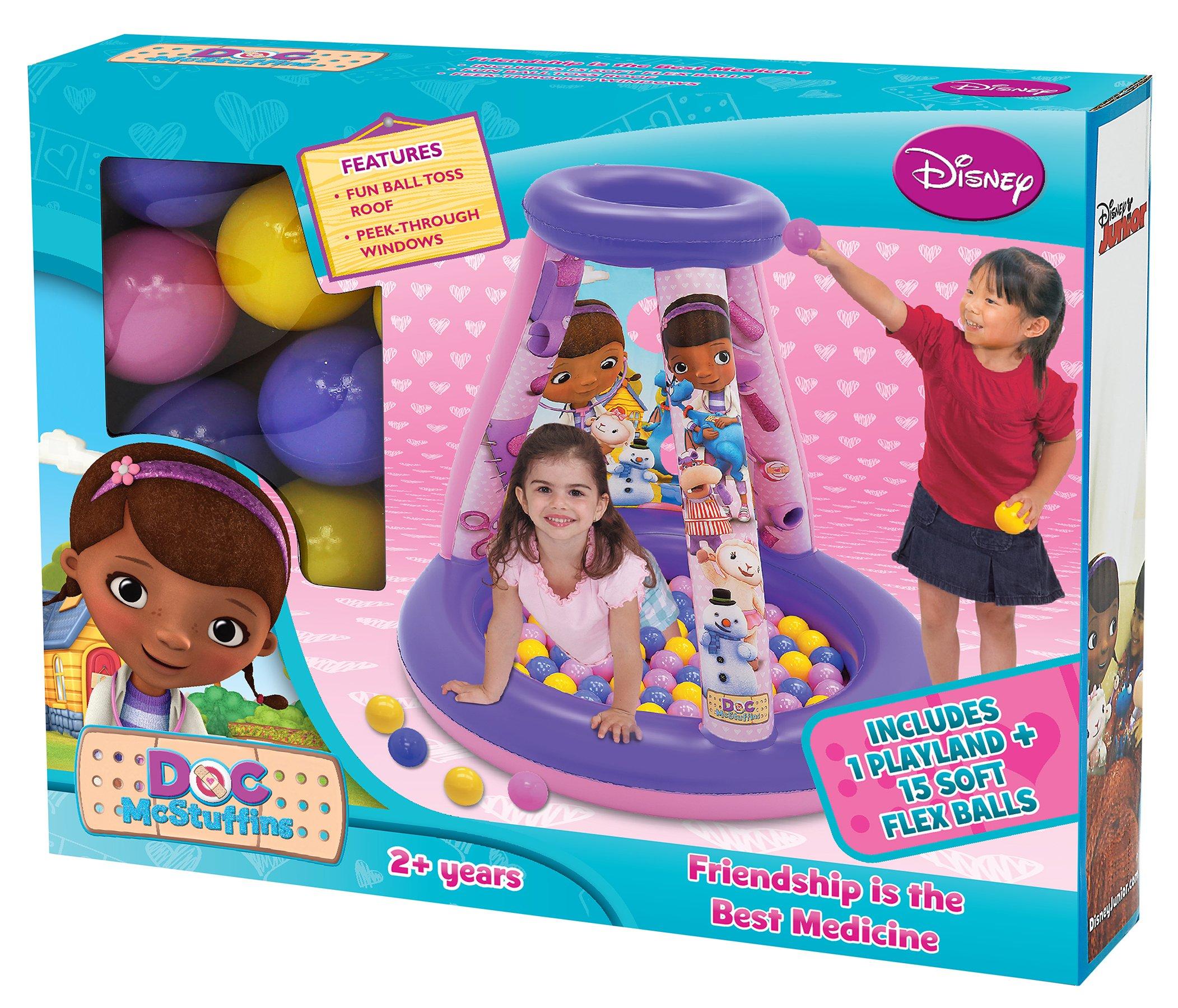 Doc McStuffins Friendship is The Best Medicine Ball Pit, 1 Inflatable & 15 Sof-Flex Balls, Purple/Pink, 28'' W x 28'' D x 33'' H by Doc McStuffins (Image #3)