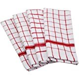"DII Cotton Terry Windowpane Dish Towels, 16 x 26"" Set of 4, Machine Washable and Ultra Absorbent Kitchen Bar Towels-Red"