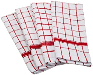 """DII Cotton Terry Windowpane Dish Towels, 16 x 26"""" Set of 4, Machine Washable and Ultra Absorbent Kitchen Bar Towels-Red"""