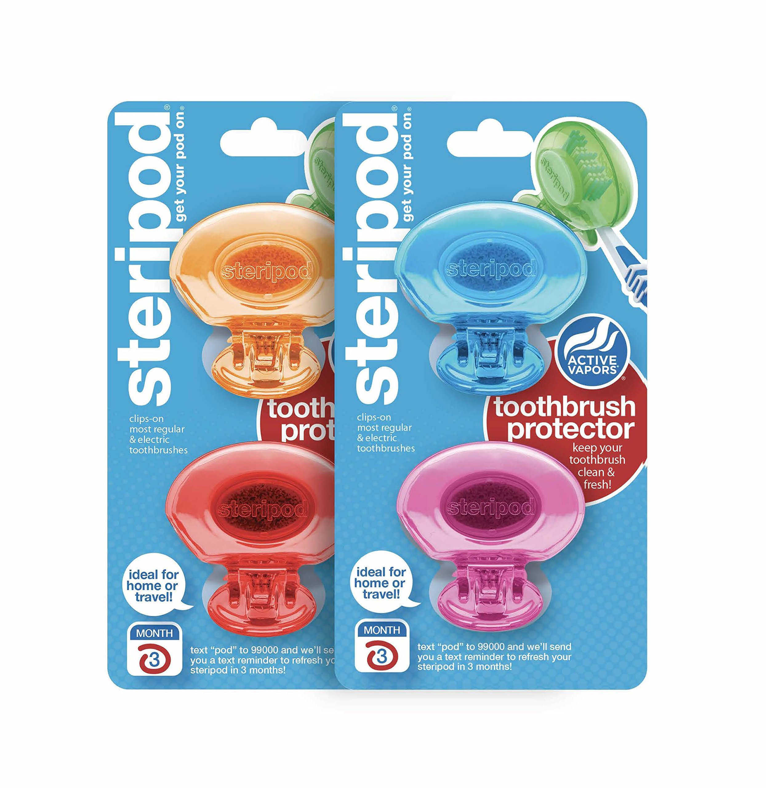 Steripod Clip-On Toothbrush Protectors: Blue, Pink, Red, Orange (4 Total) by Steripod