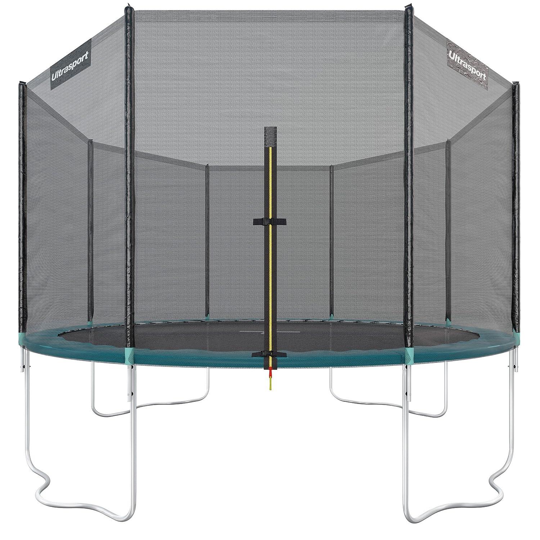 Ultrasport Jumper - Cama elástica de jardín con red de seguridad incluida, verde, 251 cm