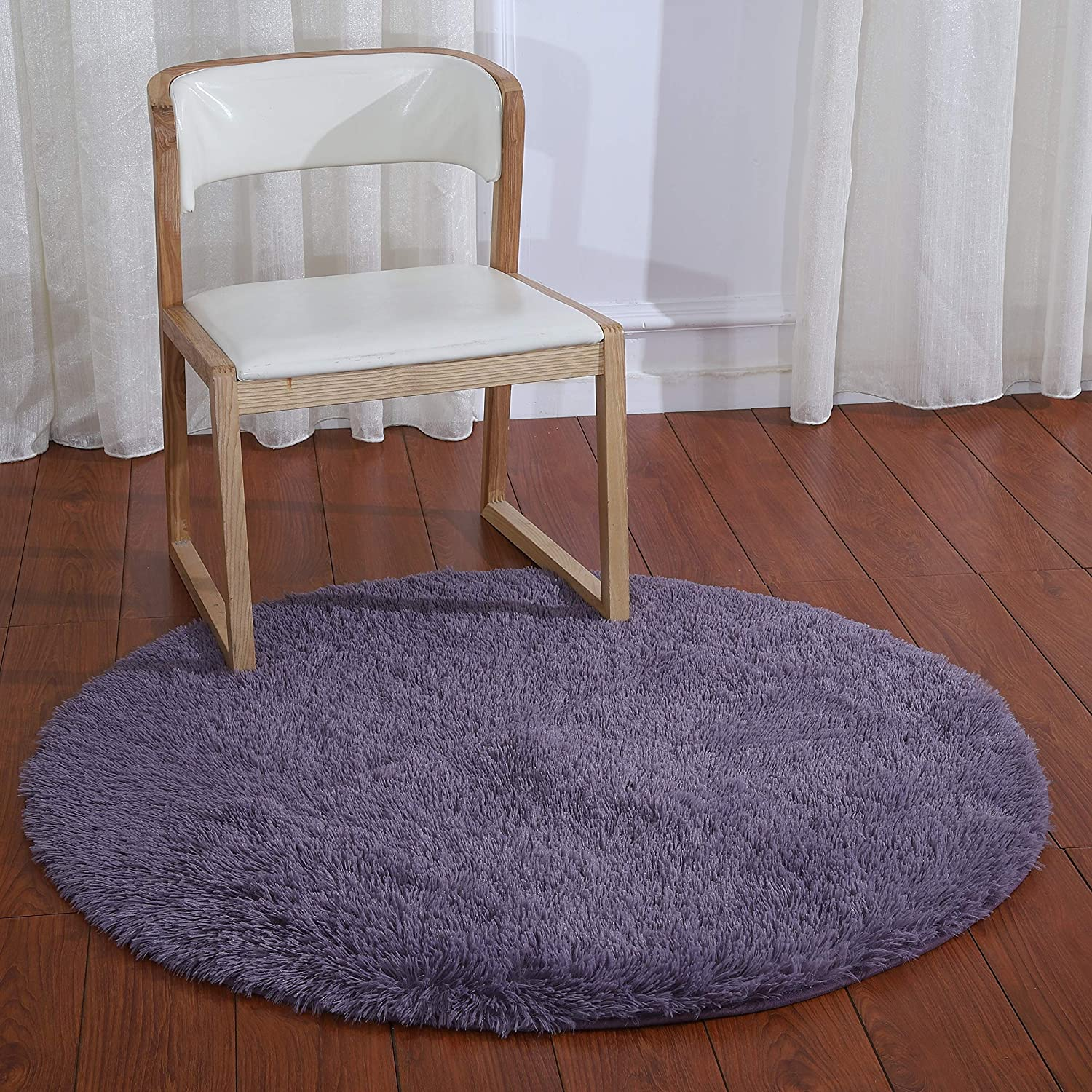 Purple 4-Feet Super Soft Area Rug Daluo New Arrivl Thick Anti-Skid Fluffy Round Children Area Rug for Living Room Bedroom Kids Room Nursery