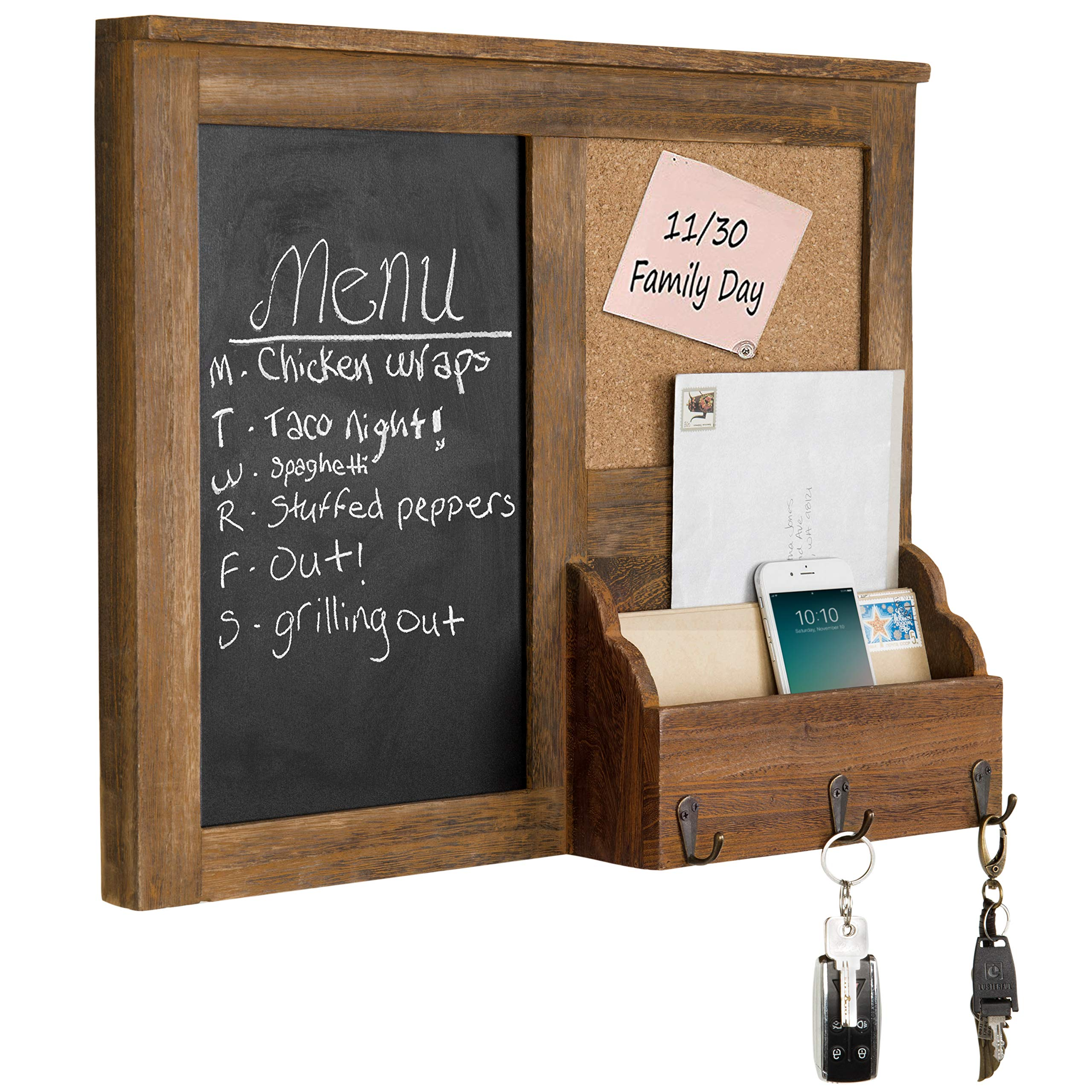 MyGift Wall-Mounted Vintage Brown Wood Chalkboard with Cork Board & Mail Holder by MyGift