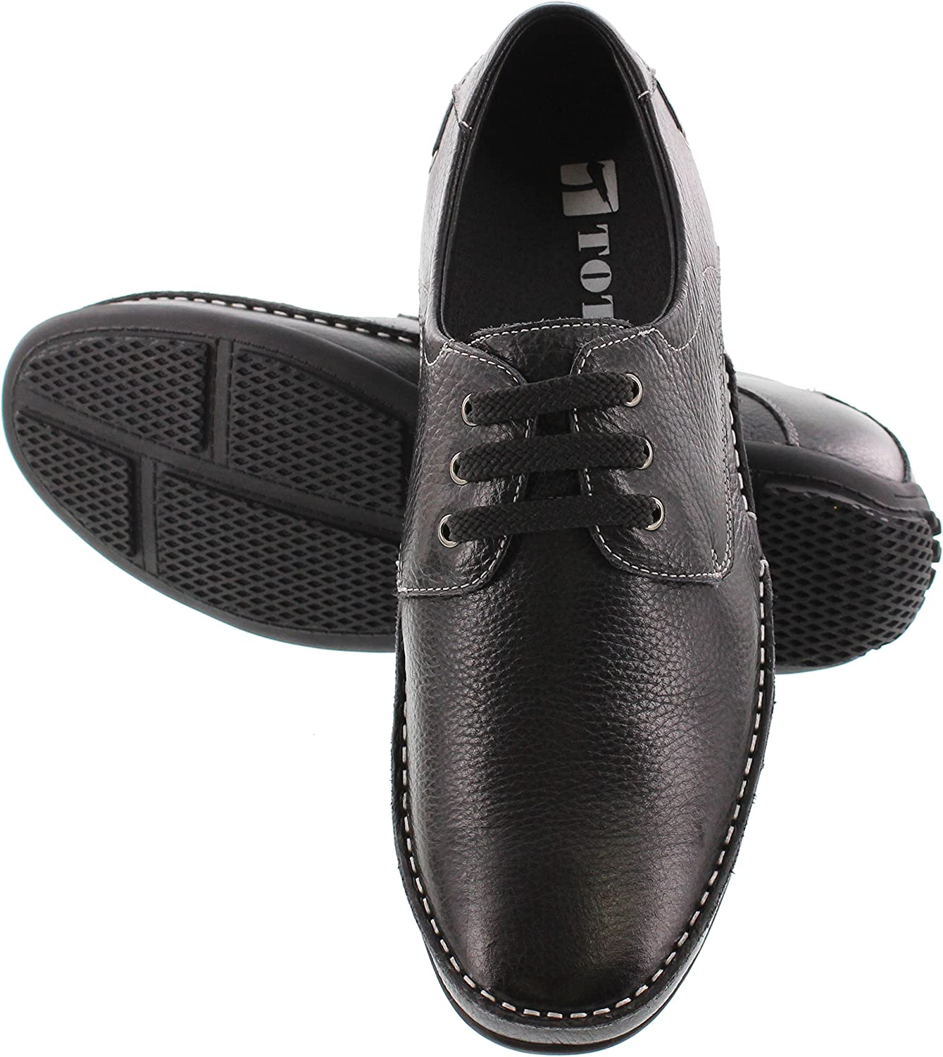 2.4 Inches Taller Black Premium Leather Lace-up Lightweight Casual Shoes TOTO Mens Invisible Height Increasing Elevator Shoes H19082