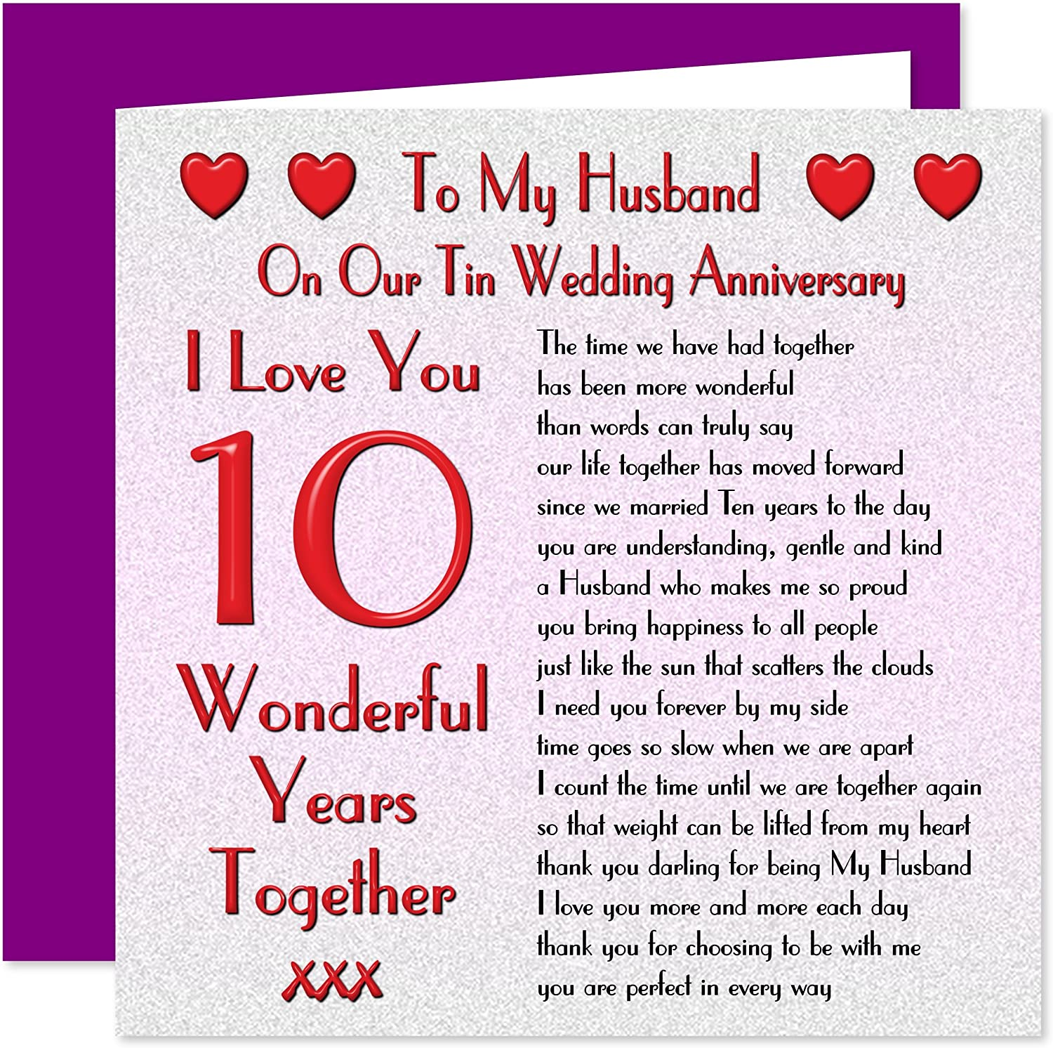 My Husband 9th Wedding Anniversary Card - On Our Tin Anniversary - 9  Years - Sentimental Verse I Love You