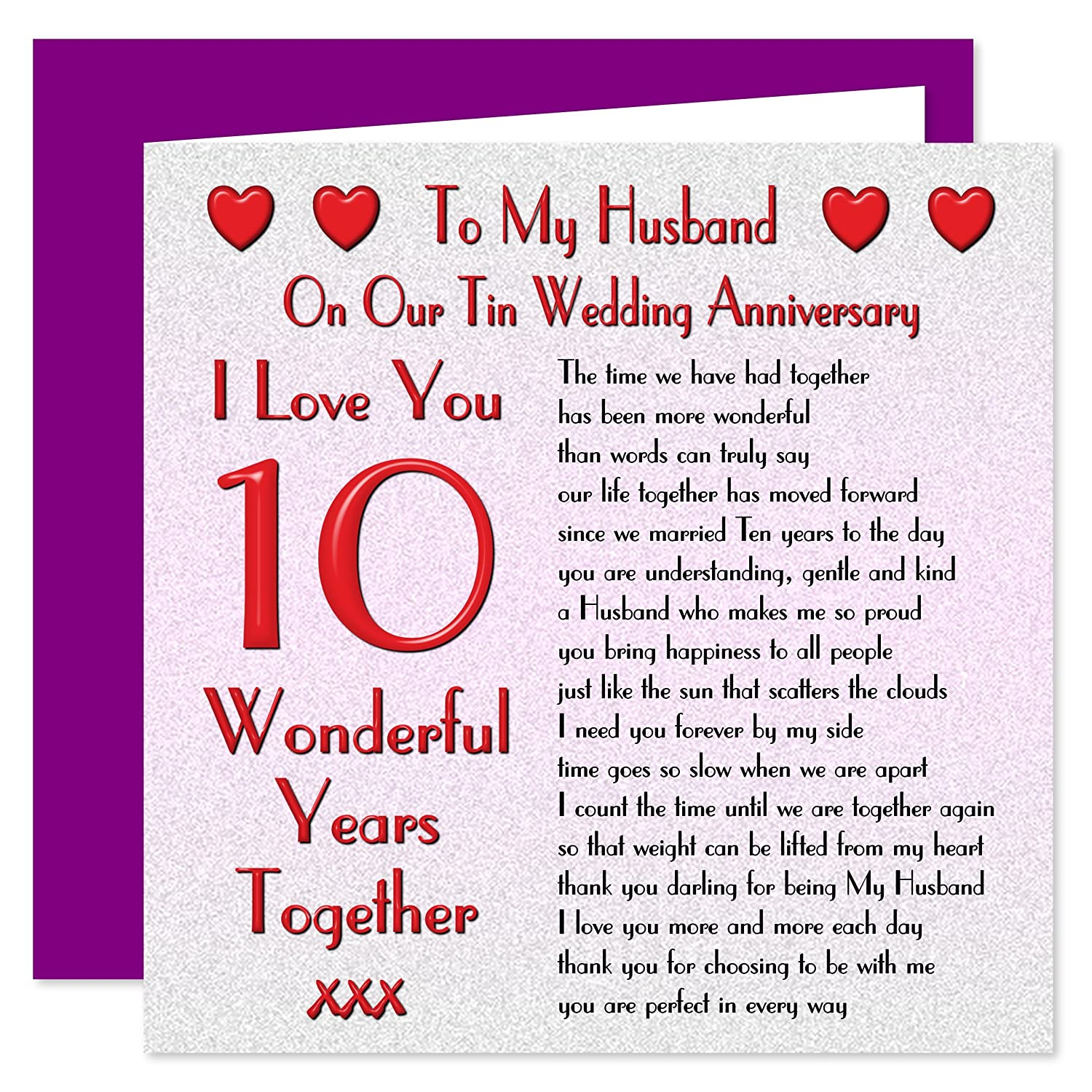 10th anniversary cards for husband