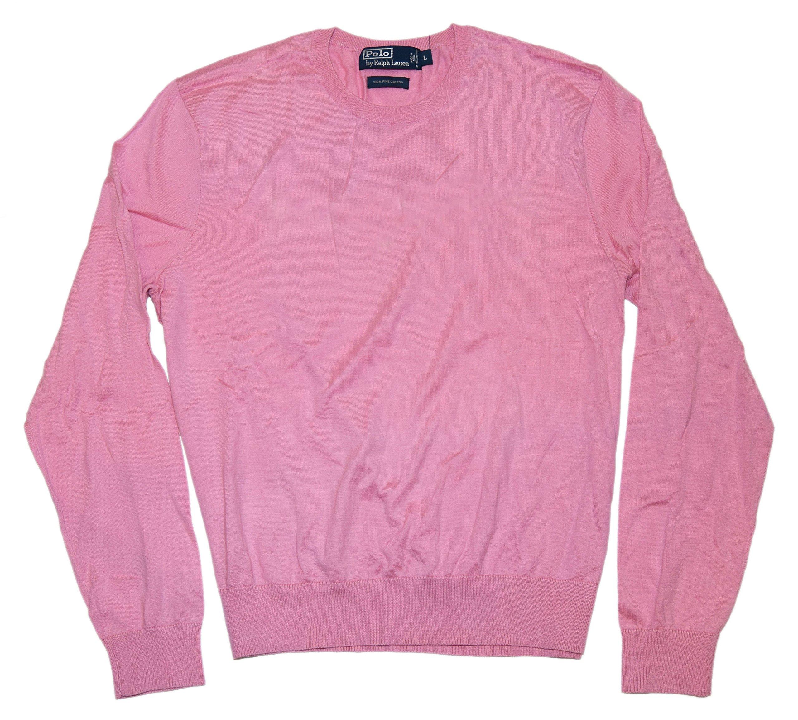 Polo Ralph Lauren Mens Italy Fine Luxury Cotton Crew Neck Sweater Pink Large