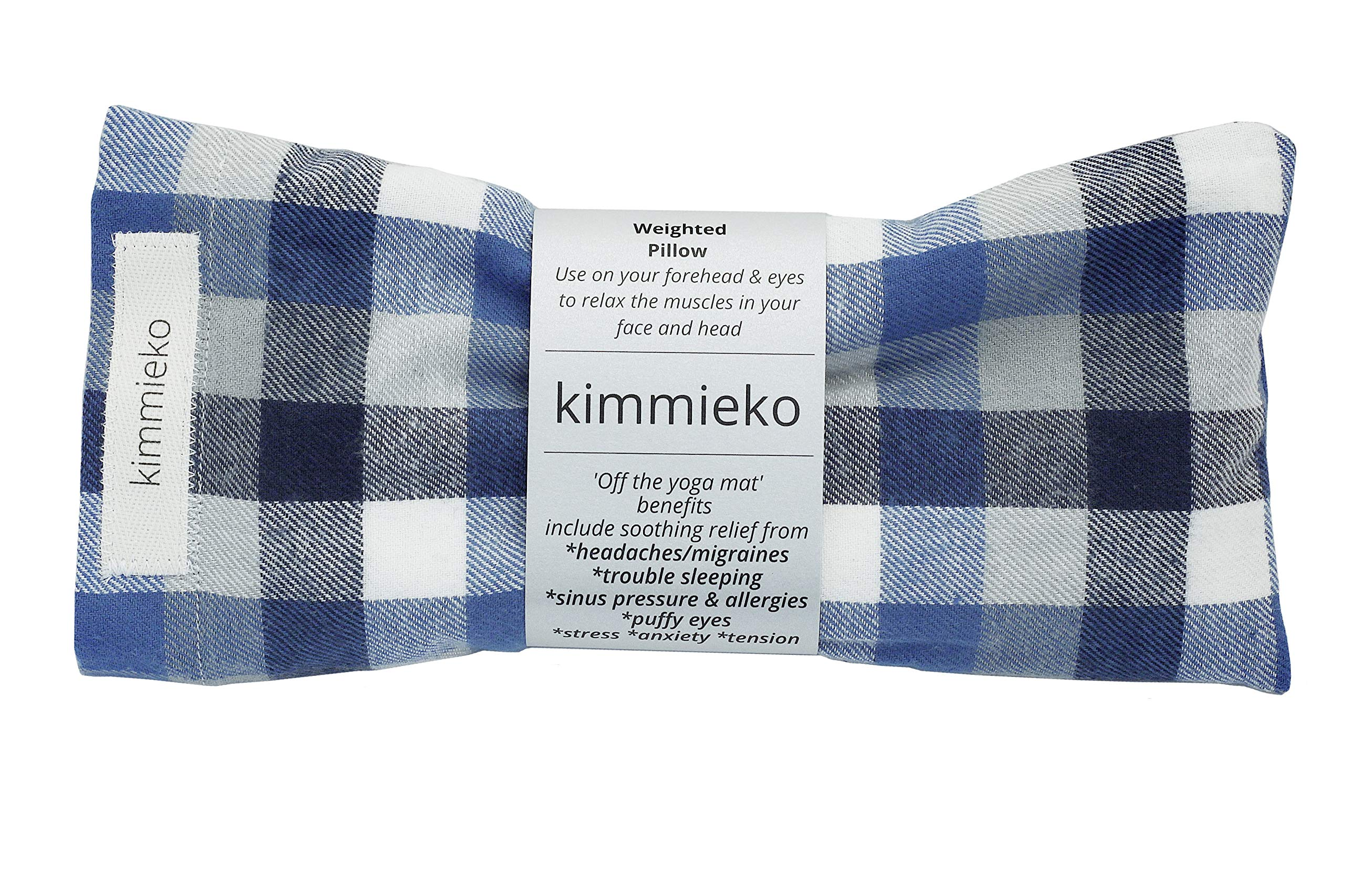 Kimmieko Weighted Spa Pillow for Eyes and Forehead | Organic Lavender and Flax Seed insert | Soothing Relief for Headaches, Sinus Pressure,Anxiety and Stress|Handmade in the USA(Blue Striped Flannel)