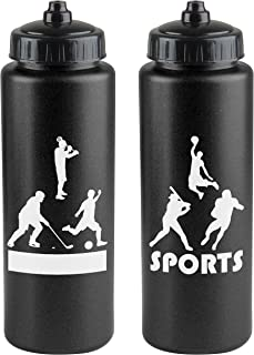 product image for Gary Plastic Packaging 32 oz Squeeze Water Sports Bottle with View Stripe (Pack of 2) with Bonus Push Pull Lids
