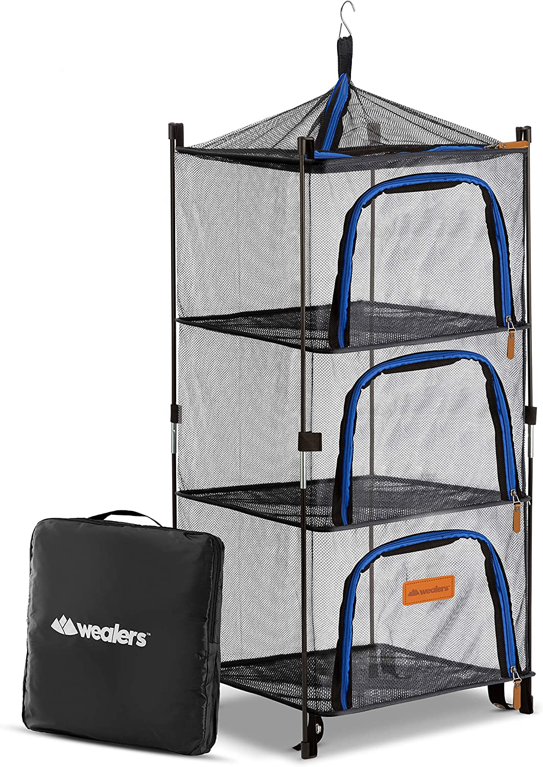 Wealers Outdoor Dry Net Storage and Food Screen 3-Tier Camping, Barbecue, Picnic Meal Protection Organizer | Faster Herb, Clothes, Dish Drying | Foldable (New Version)