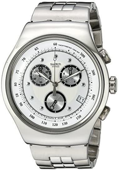 Swatch IRONY THE CHRONO - Reloj de caballero de cuarzo, correa de acero inoxidable color plata: Swatch: Amazon.es: Relojes