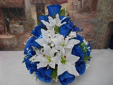 Azul Rosa Blanco Lilly Niños Hanega De Seda Artificial En La