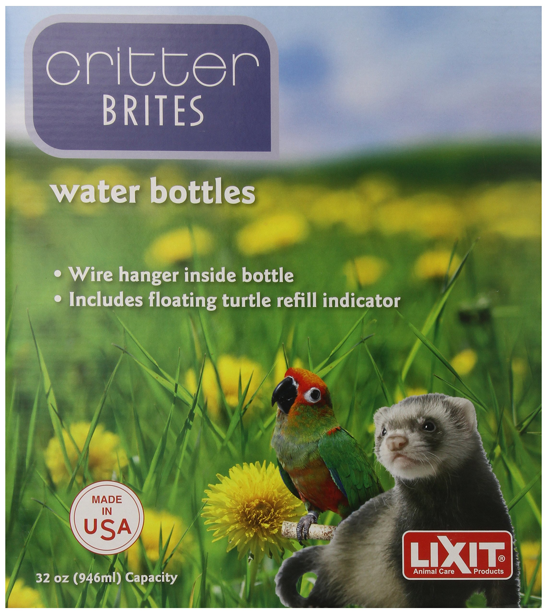 Lixit Corporation SLX0537 6-Pack Critter Brites Small Animal Water Bottles, 32-Ounce, Day Glow
