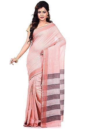 fd353da483b Indian Saree Women's Pure 100 Count Cotton Tangail Azo Free Dye Pink by Bengal  Handloom